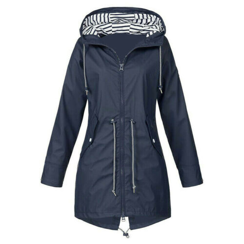Trendy Women Lady Raincoat Hooded Wind Waterproof Jacket Rain Mac Poncho Outdoor