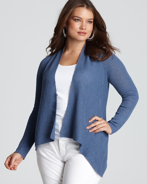 Eileen Fisher Washable Wool Diagonal Air Lupine Rib Shawl Collar Cardigan