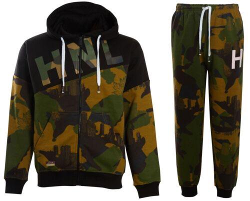 Boys Mens HNL Camouflage Hood Fleece Army Hooded Joggers Bottom Tracksuit Size