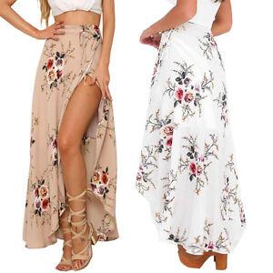 Women Boho Chiffon High Waist Summer Beach Long Maxi Dress Floral Split Skirt US