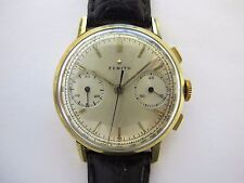ZENITH VINTAGE CHRONOGRAPH 18K GOLD 35MM WORKING GOOD SOLD WITH NO RESERVE !!
