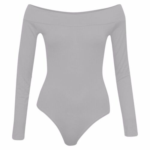 Ladies Womens Off Shoulder Long Sleeve Top Plain Stretch Bardot Bodysuit Leotard