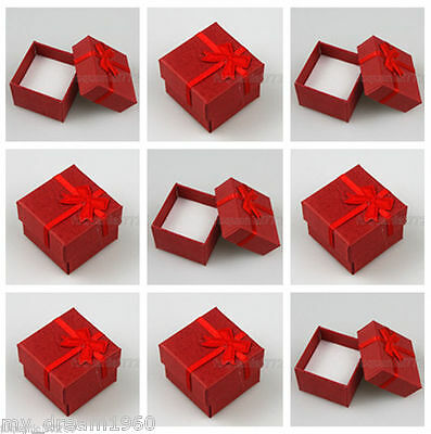 Wholesale 24 pcs Red Paper Jewelry Box Ring Earring Box Decorative gift
