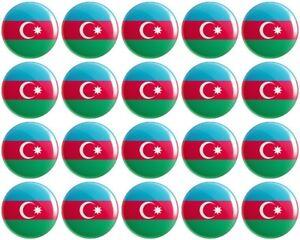 Azerbaijan Flag BUTTON Pin Badge