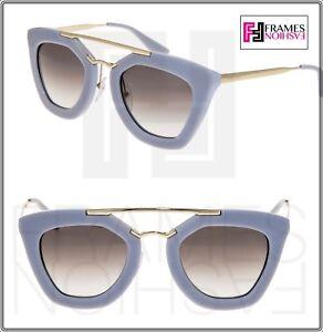 6185507c03280 PRADA CINEMA Sunglasses 09Q Opal Grey Gold Aviator Cat Eye Women ...