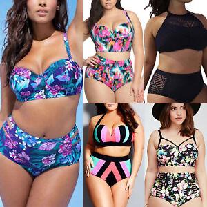 9fd971e817 Women Plus Size High Waisted Bikini Push-up Padded Swimwear Swimming ...