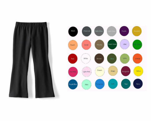 Cotton Spandex Kids Flare Yoga Pants Girls Size 2-14 32 Colors Made in USA