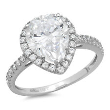2.45ct Pear Cut solitaire Engagement Bridal Ring Halo 14k White Gold Bridal band