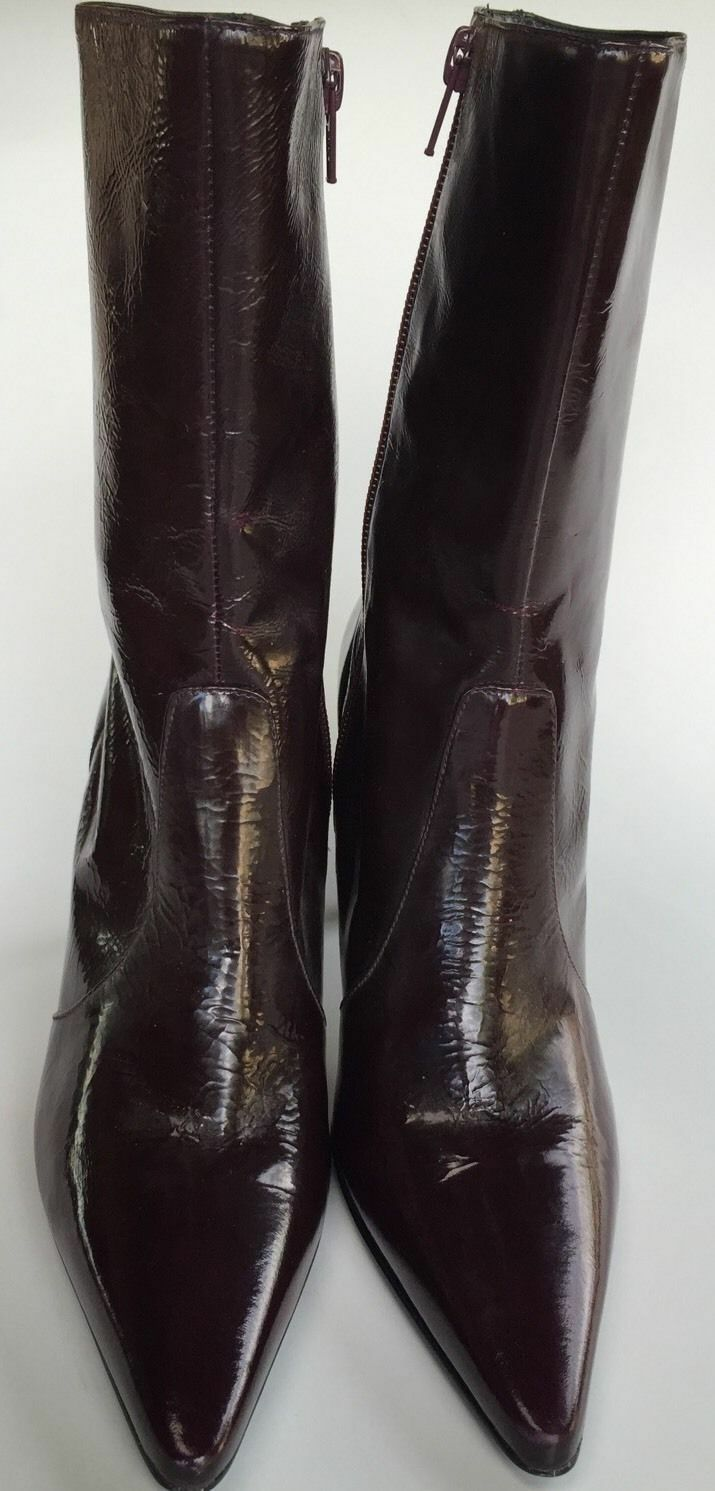 NEW Gianni Bini Brown Chocolate Burgundy Leather 3  Heel Boots Sz 8 -Retail