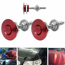 2pcs Push Button Quick Release Hood Bonnet Lock Clip Latch Bumper Red