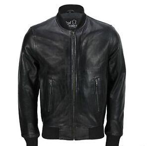 pelle vintage in bomber collare morbida Giacca motociclista da uomo nera stile da da 1108w