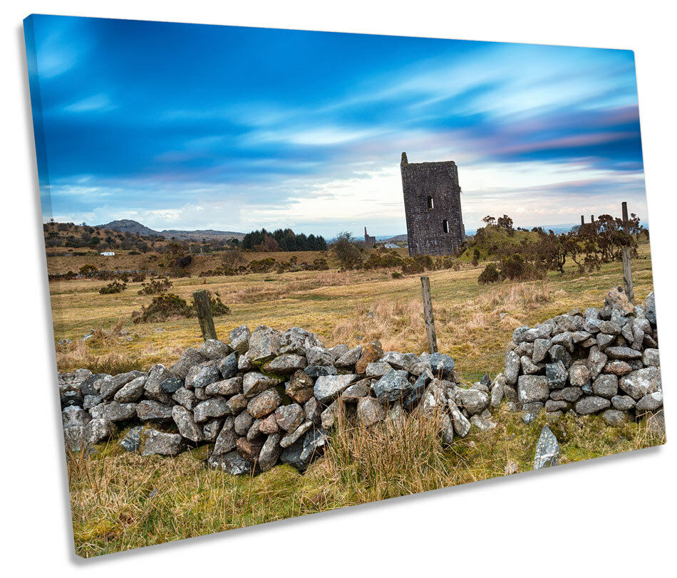 Bodmin Moor Engine House Picture SINGLE CANVAS WALL ART Print