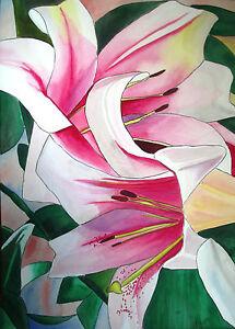 ORIGINAL-ART-Lily-Triumphator-flower-watercolour-painting