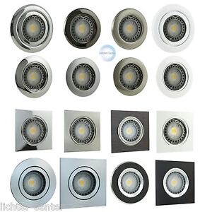 Aluminium-Gebuerstet-Einbauspot-LED-Schwenkbar-Deckenlampe-Rahmen-230V-Dimmbar