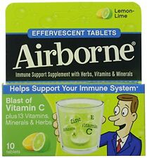 2 Pack - Airborne Effervescent Tablets Lemon-Lime 10 Tablets Each