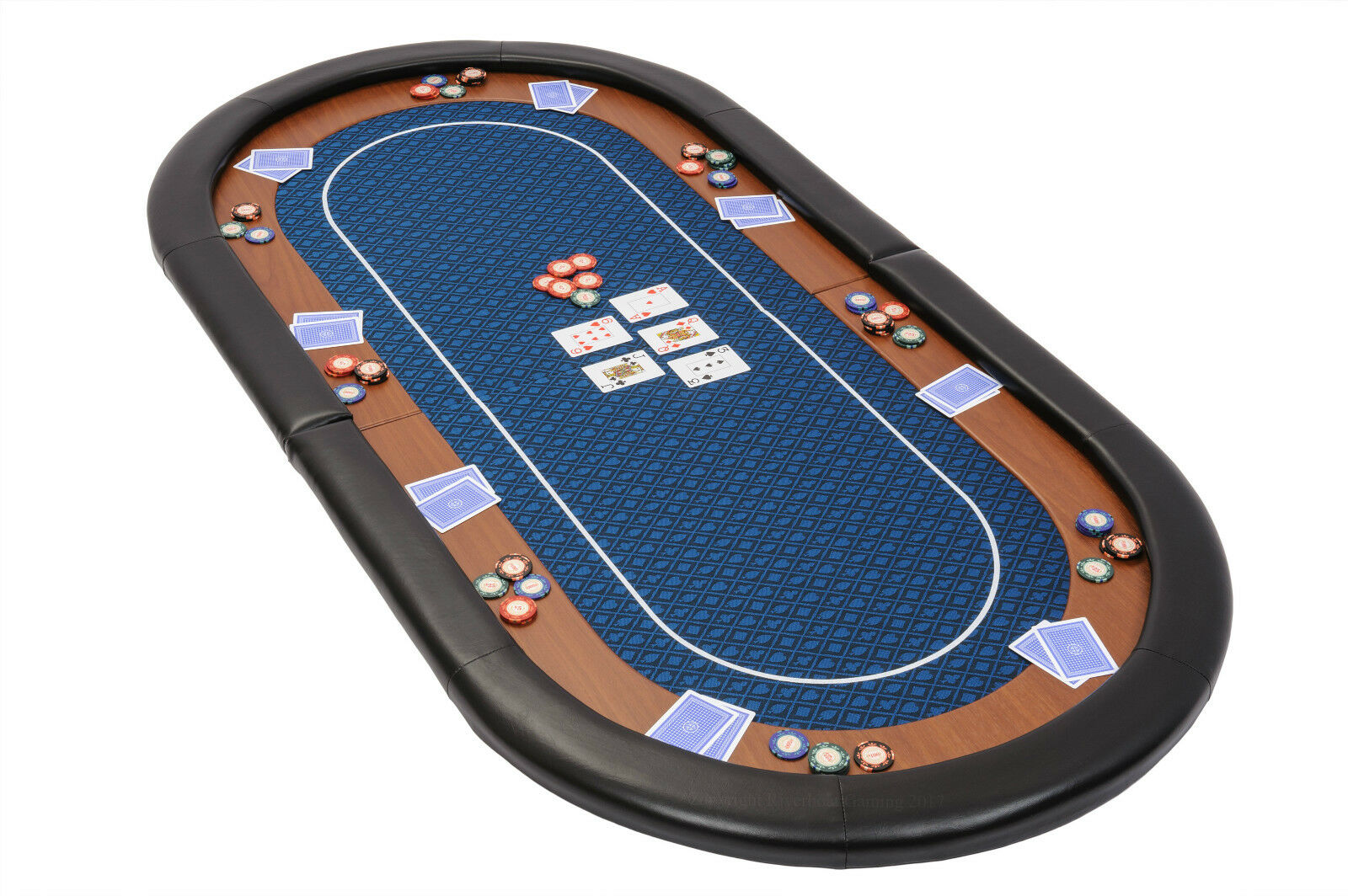 Champion Folding Poker Table Top in blu Speed Cloth 180cm with Pelle Armrest