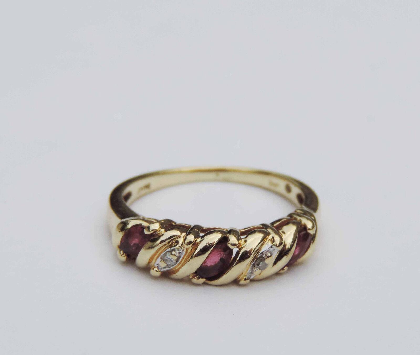 Ladies Genuine Marquise Ruby Gemstone Ring w  2 Diamonds - 10k Yellow gold