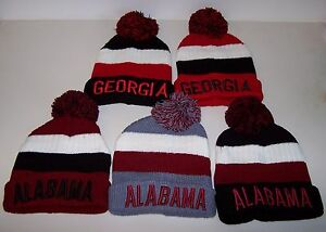 Men's CABLE Boggan Beanie Ski Cap Hat Sweater Knit YOU PICK ALABAMA or GEORGIA