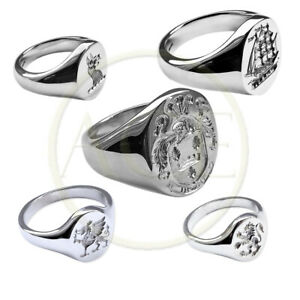 Sterling-Silver-Your-Family-Crest-Signet-Rings-925-Solid-Signet-Rings-Oval-UK-HM