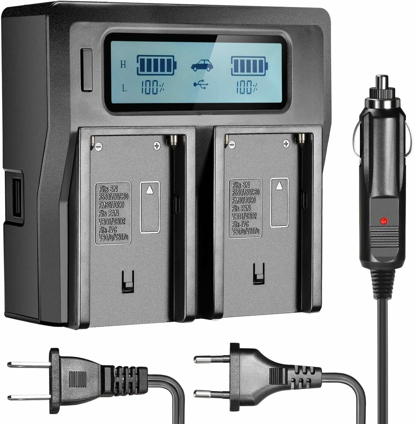 Dual-Channel LCD Display Battery Charger with 3 Plug