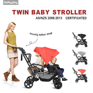 Folding Baby Sit and Stand Ultra Tandem Stroller Pushchair Double Kids Red