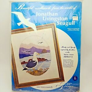 Stamped-Crewel-Embroidery-Craft-Kit-Big-Sur-Beach-Jonathan-Seagull-0885-Vintage
