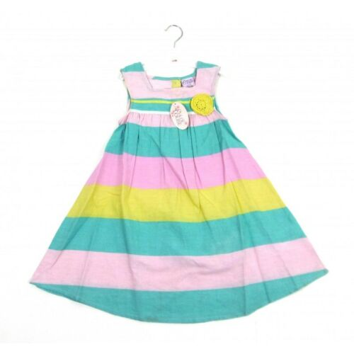 BNWT BABY GIRLS SUMMER CANDY STRIPE COTTON DRESS AGE 6-12  MONTHS ONLY LEFT