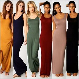 5192b73f005 Stylish Women Vest Tank Cotton Stretch Casual Summer Maxi Long Dress ...