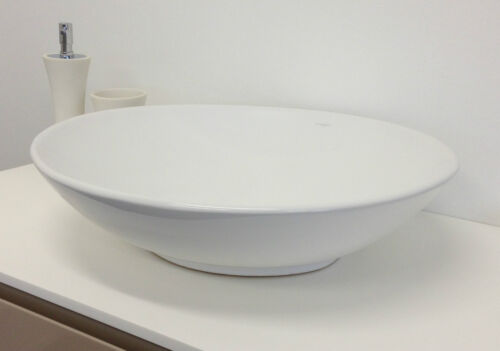 BATHROOM CERAMIC OVAL ABOVE COUNTER TOP BASIN FOR VANITY INCLUDES POP UP WASTE