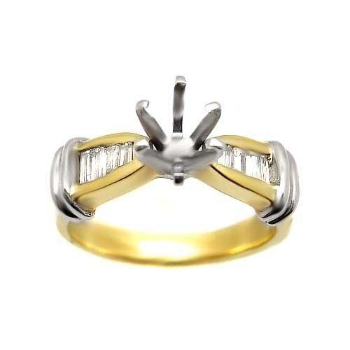 0.40 ct ROUND CUT DIAMOND ENGAGEMENT RING MOUNTING 14K WHITE YELLOW gold