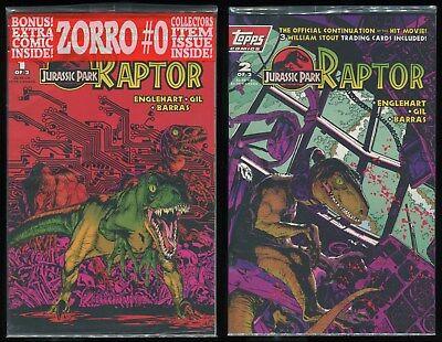 Jurassic Park Raptors Attack 1 2 3 4 Complete 1994 Topps Comic Set Run 1-4 VF