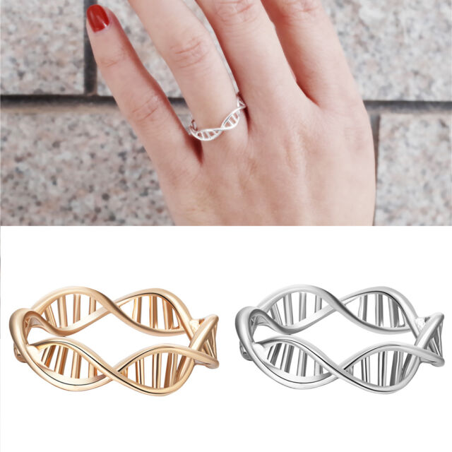 Silver Gold Rose Plated DNA Double Helix Symbol Molecule Ring Jewelry Gift