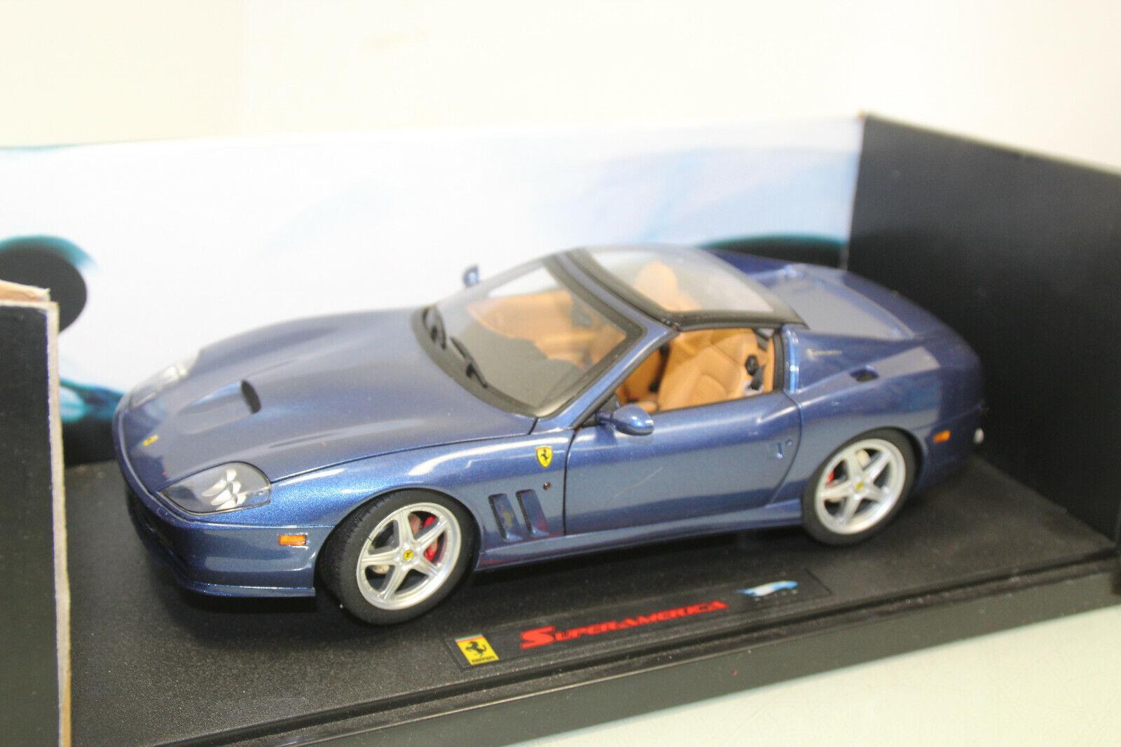 Mattell Hot Wheels Elite 1 18 j2922 Ferrari Superamerica bleu neuf dans sa boîte (js5305)