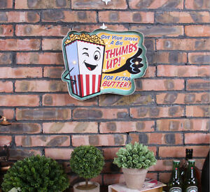 Loft Style Vintage LED Light Metal Signs Popcorn Pub Bar Art Wall Decor Hanging