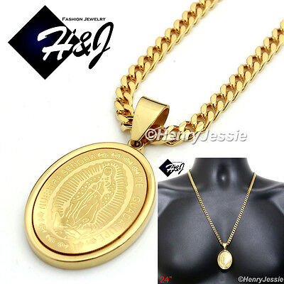 """18-36/""""MEN Stainless Steel 4.5x2mm Gold Cuban Curb Chain VIRGIN MARY Pendant*G26"""