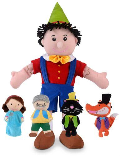Fiesta Crafts PINOCCHIO HAND AND FINGER PUPPET SET Soft Toy BN