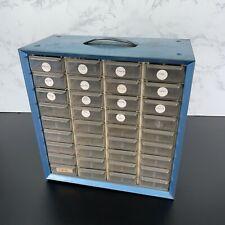 Vintage Akro Mils Metal 36 Drawer Cabinet Organizer Storage Box Bins Parts Blue