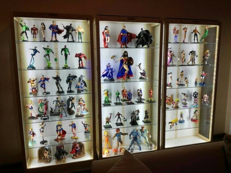 Character Display Cabinet Beautiful Led Lights Glass Shelves