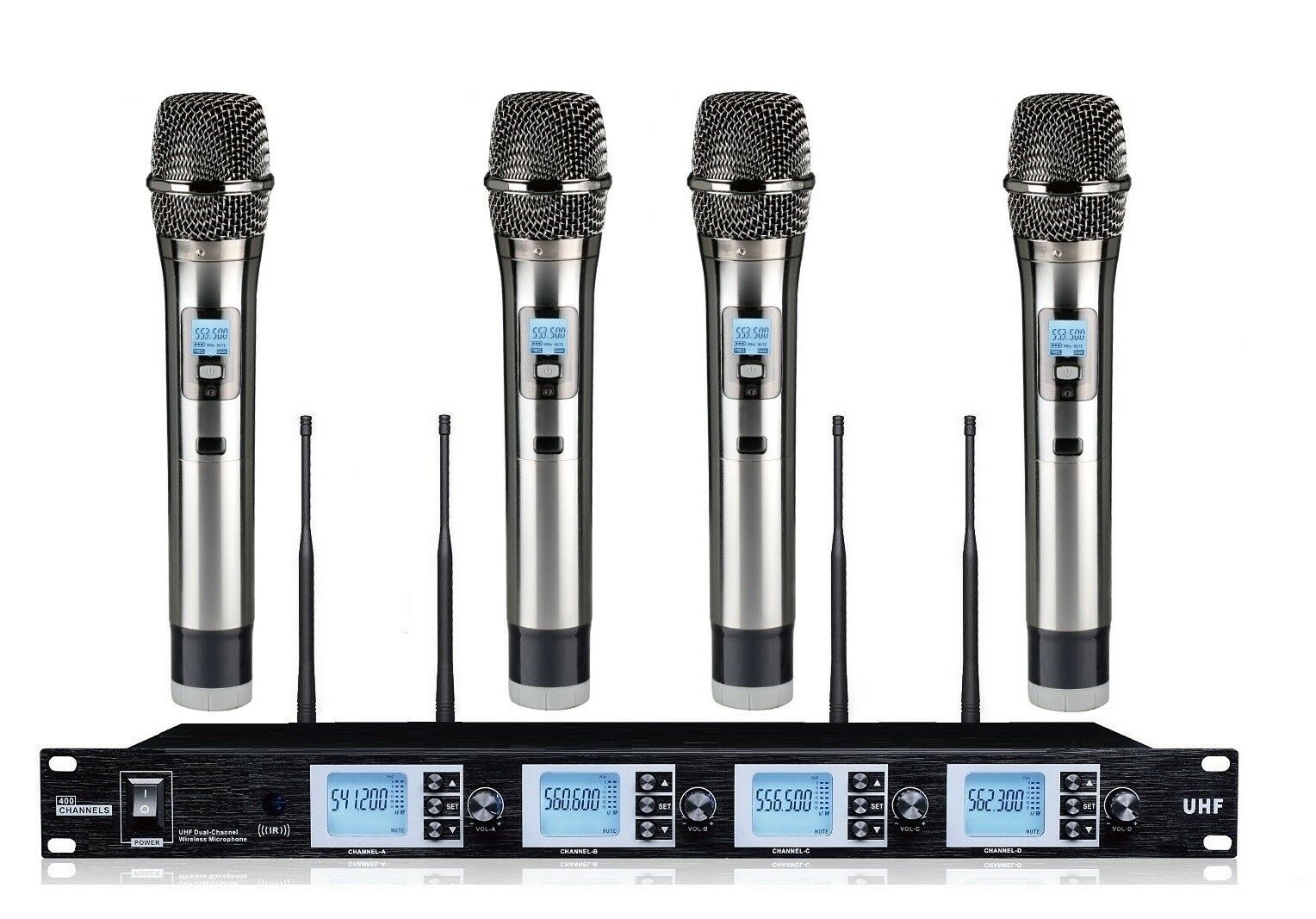 Quad Channel Wireless Microphone System mit vier Handheld Dynamic Microphones