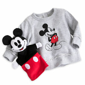 Disney-Store-Mickey-Mouse-Sweatshirt-amp-Hand-Puppet-Gift-Set-for-Baby-Size-18-24M