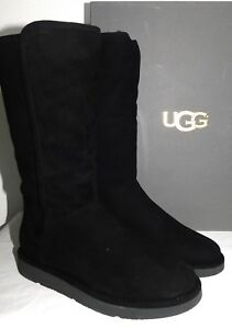 b095571f9e7 Details about NIB * UGG Collection Abree Tall Nero Black Suede Fur Boots  Womens Size 6 Italian