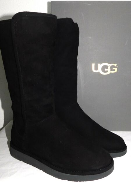 64aaf133cf1 * UGG Collection Abree Tall NERO Black Suede Fur BOOTS Womens Size 6 Italian