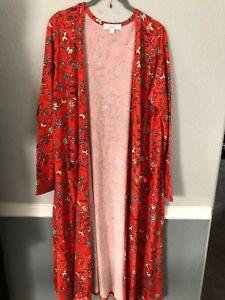 1d65df02c06 NWT LuLaRoe Large Sarah Duster Cardigan Red Orange Floral Pattern ...