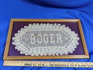 Light-Oak-Solid-Wood-Picture-Frame-Antique-Folk-Art-Doily-Cloth-Glass-19x11