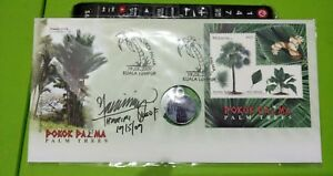 Malaysia-2009-Palm-Trees-MS-stamp-FDC-designer-sign-inlaid-Palm-Oil-Pendant-Coin