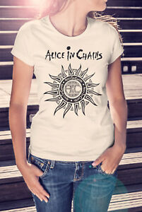 ALICE-IN-CHAINS-Women-Black-V-neck-T-shirt-Metal-Tee-Grunge-Shirt-NIRVANA