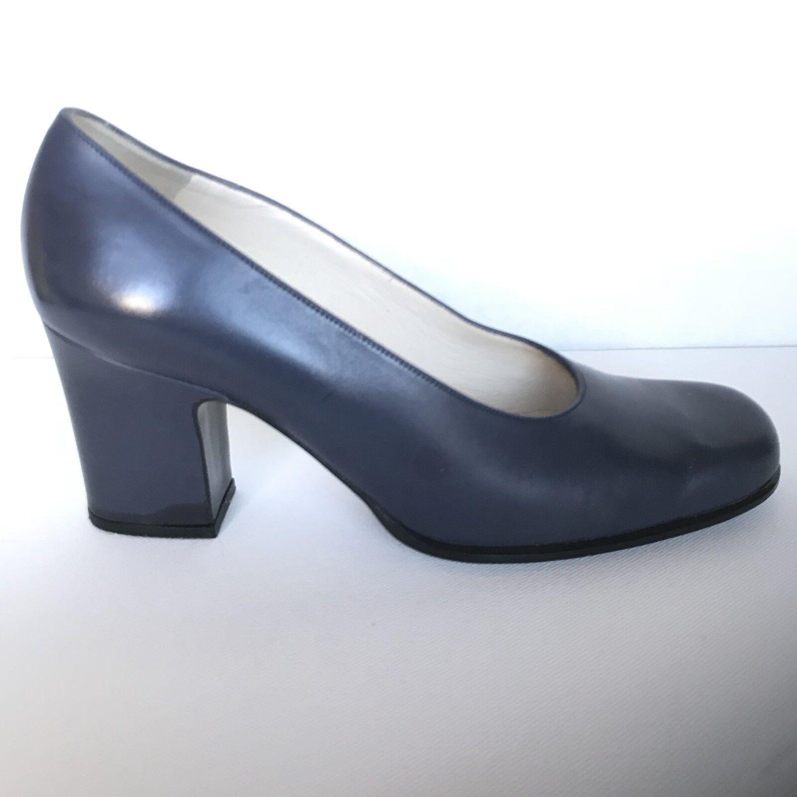Bally Vintage Navy Pelle Block Heels Round Toe Block Pumps Heels - sz. 7