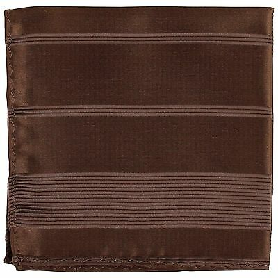 New Men's Polyester Woven pocket square hankie only brown pin stripes formal