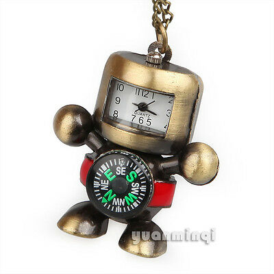 Steampunk Cute Robot Compass White Dial Quartz Pocket Watch Necklace Chain