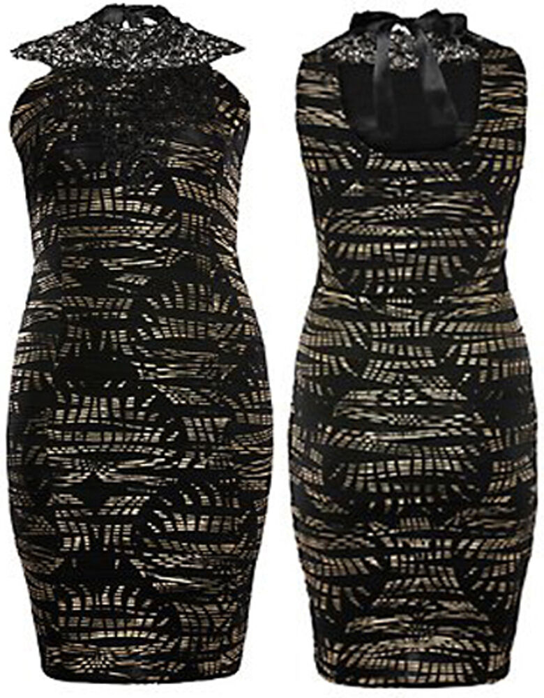 New damen Plus Größe schwarz Crochet Neck Wave Foil Print Midi Dress 16-26